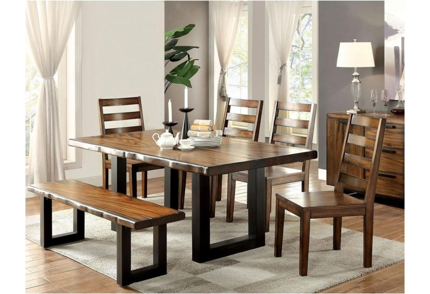 Furniture Of America Maddison Cm3606t 6pc Bn Rustic Dining Set With Bench Corner Furniture Table Chair Set With Bench