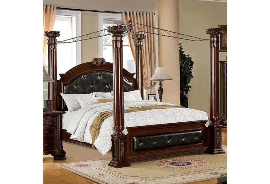 Furniture Of America Mandalay Traditional Queen Canopy Bed With