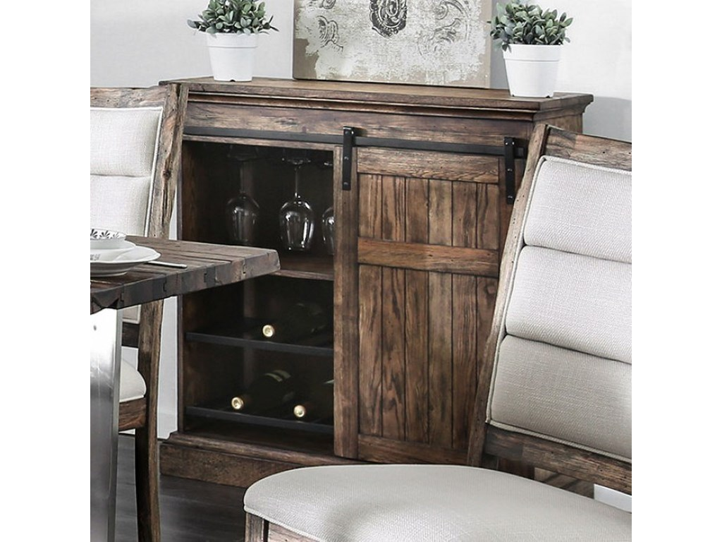 America Mandy Rustic Wine Cabinet With Sliding Door