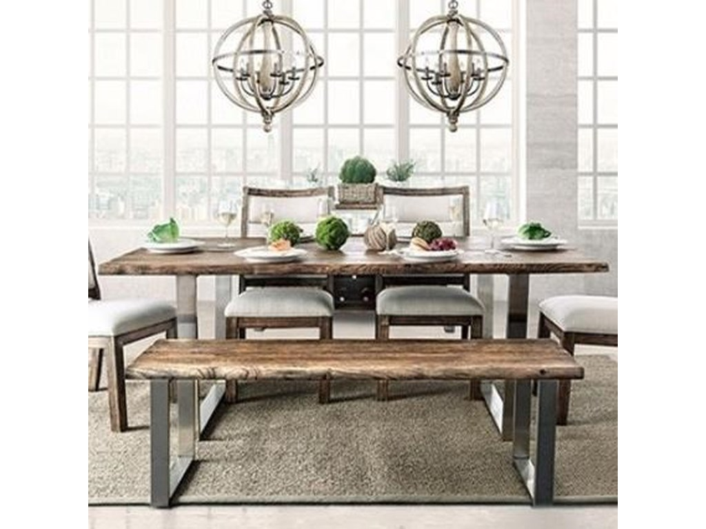 Mandy Rustic Dining Table with Metal Base by Furniture of America at Dream  Home Interiors