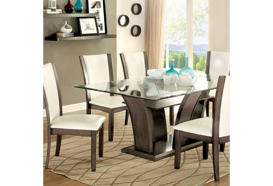 Manhattan I & II Transitional Rectangular Dining Table with Glass Top by  Furniture of America at Dream Home Interiors