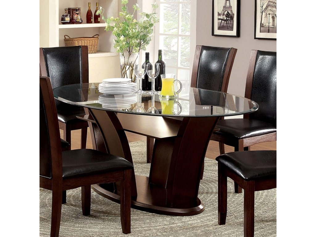 Manhattan I & II Transitional Oval Dining Table with Glass Top by America  at Del Sol Furniture