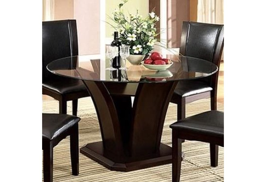 Manhattan I Ii Transitional Round Dining Table With Gl Top By Furniture Of America At Dream Home Interiors