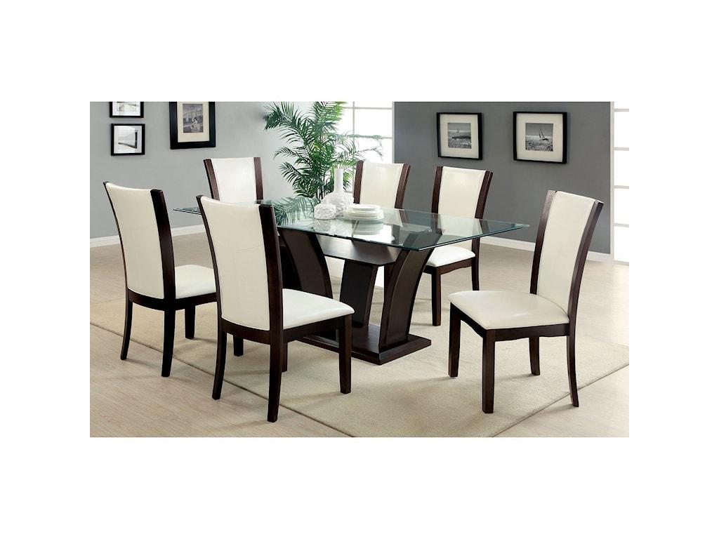 Furniture of America Manhattan I & IISet of 2 Side Chairs - Espresso Finish