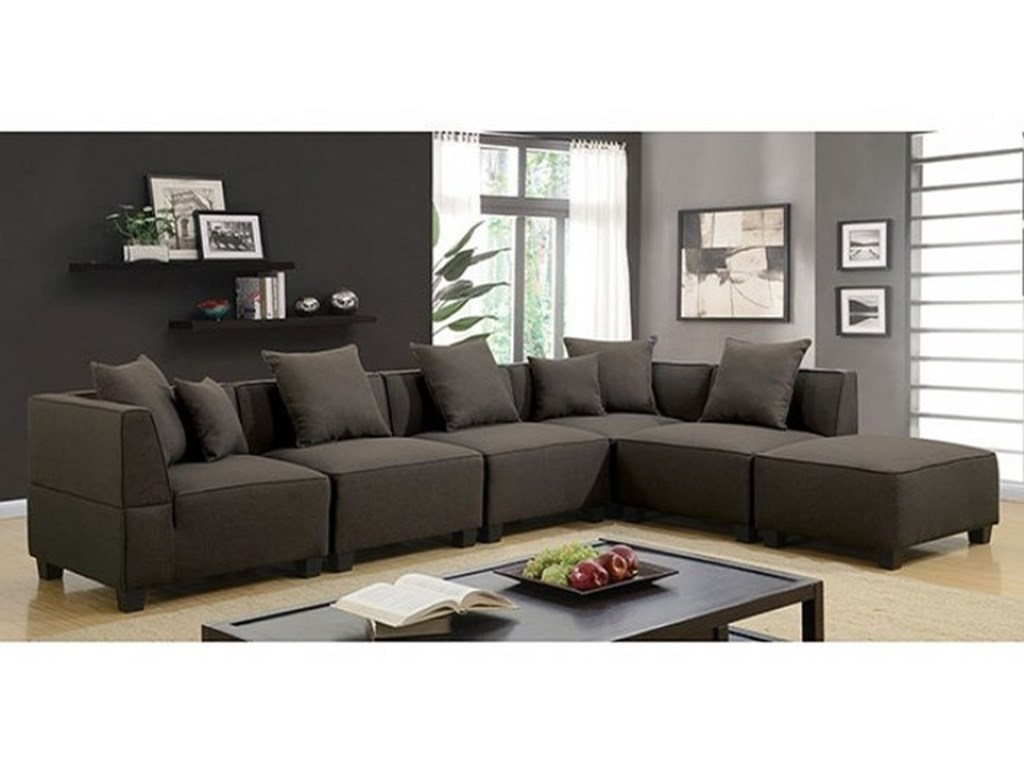 Furniture of America Marian CM6369-SECT-6SEAT Contemporary 6-Piece ...