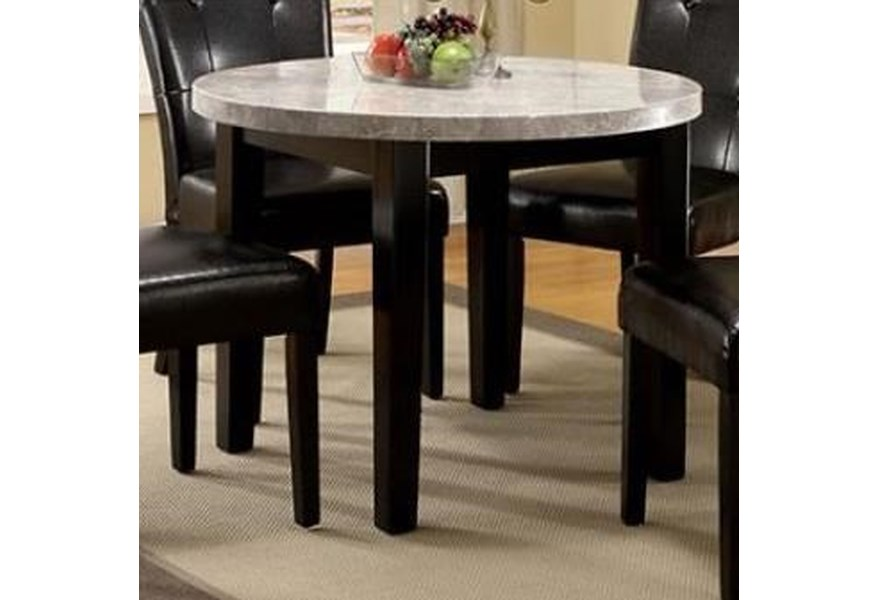 Furniture Of America Foa Marion I Cm3866rt 40 Contemporary Round Dining Table With Marble Top Del Sol Furniture Kitchen Tables