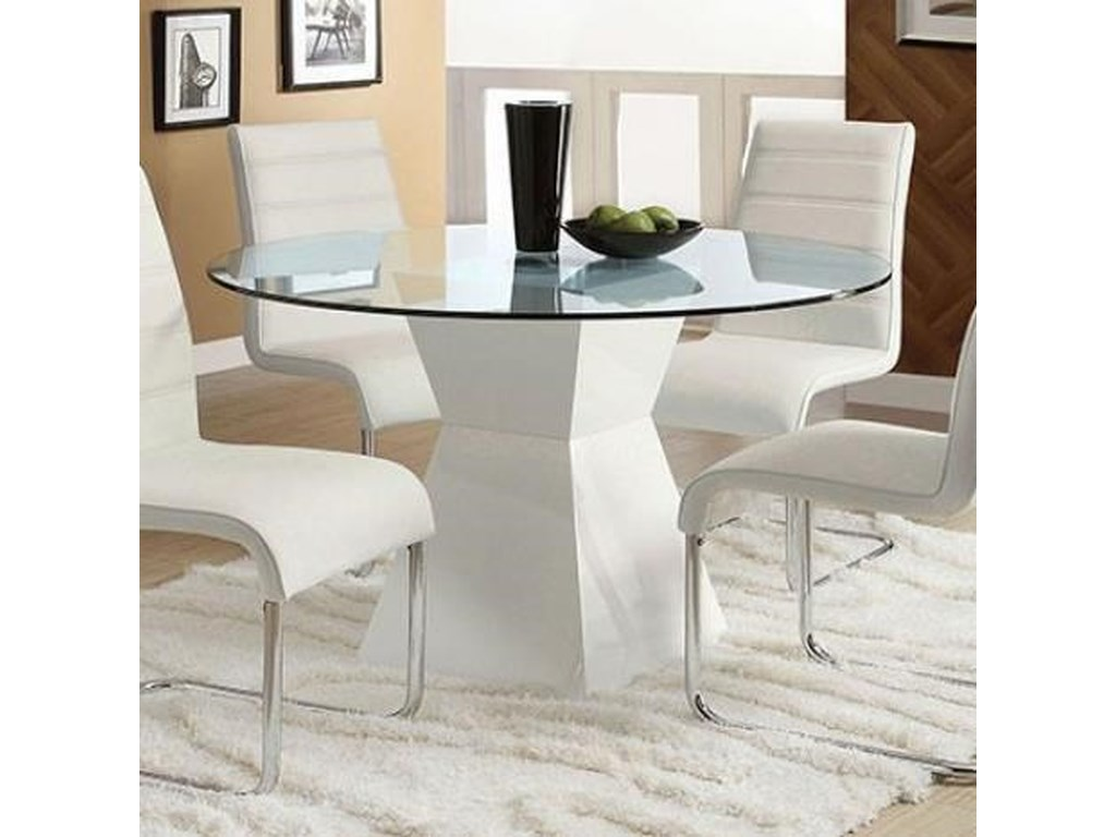 Furniture of america mauna contemporary dining table with glass top