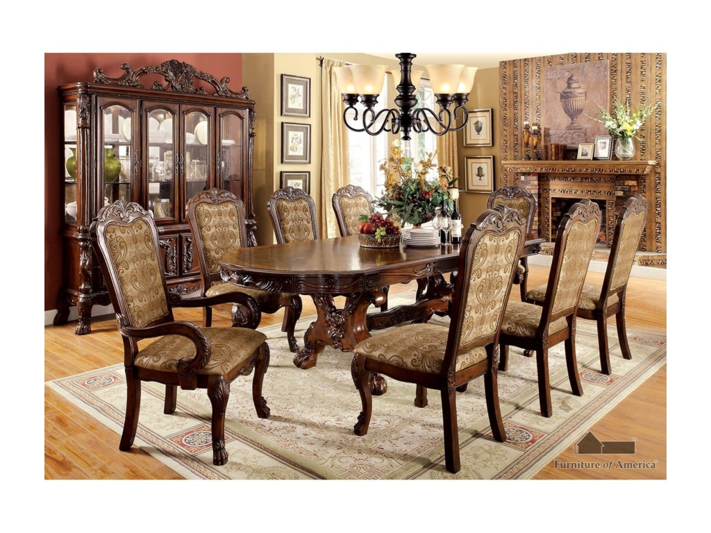 Medieve Dining Room Set with Two Arm Chairs and Six Side Chairs by  Furniture of America at Rooms for Less