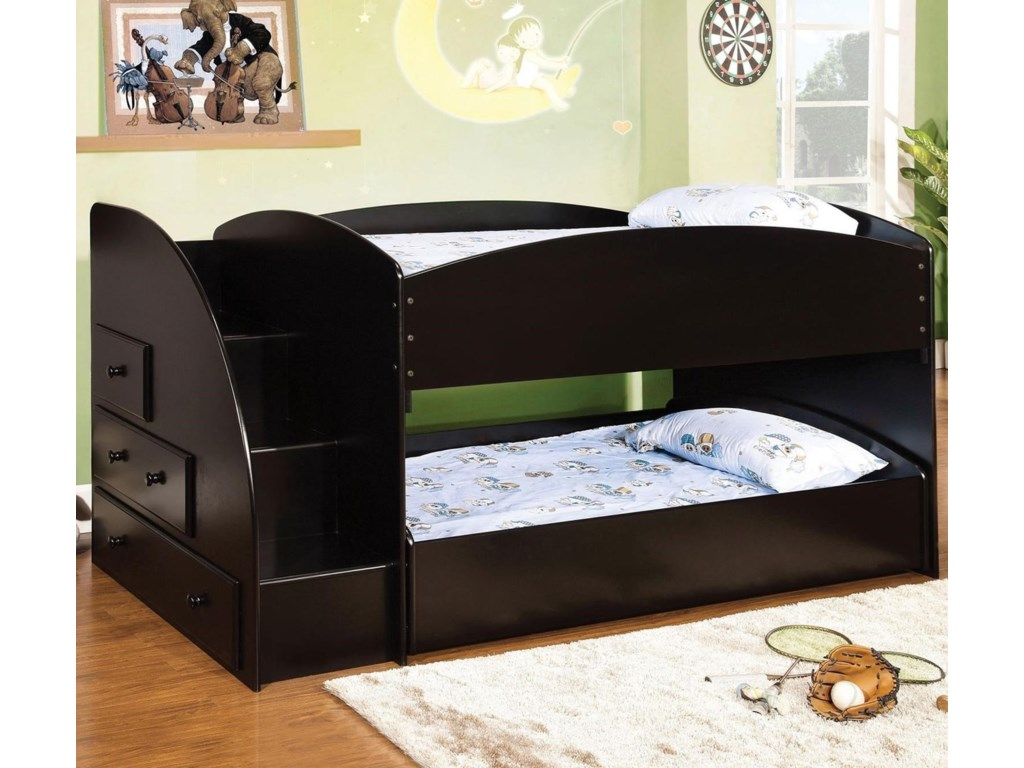 the best attitude e75af 1d474 Merritt Youth Bedroom Twin Over Twin Bunk Bed with Built-In Storage and  Stairs by Furniture of America at Dream Home Interiors