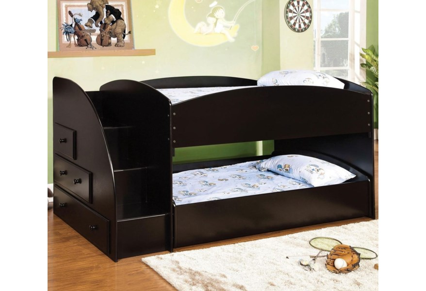 Furniture Of America Merritt Youth Bedroom Twin Over Twin Bunk Bed With Built In Storage And Stairs Dream Home Interiors Bunk Beds