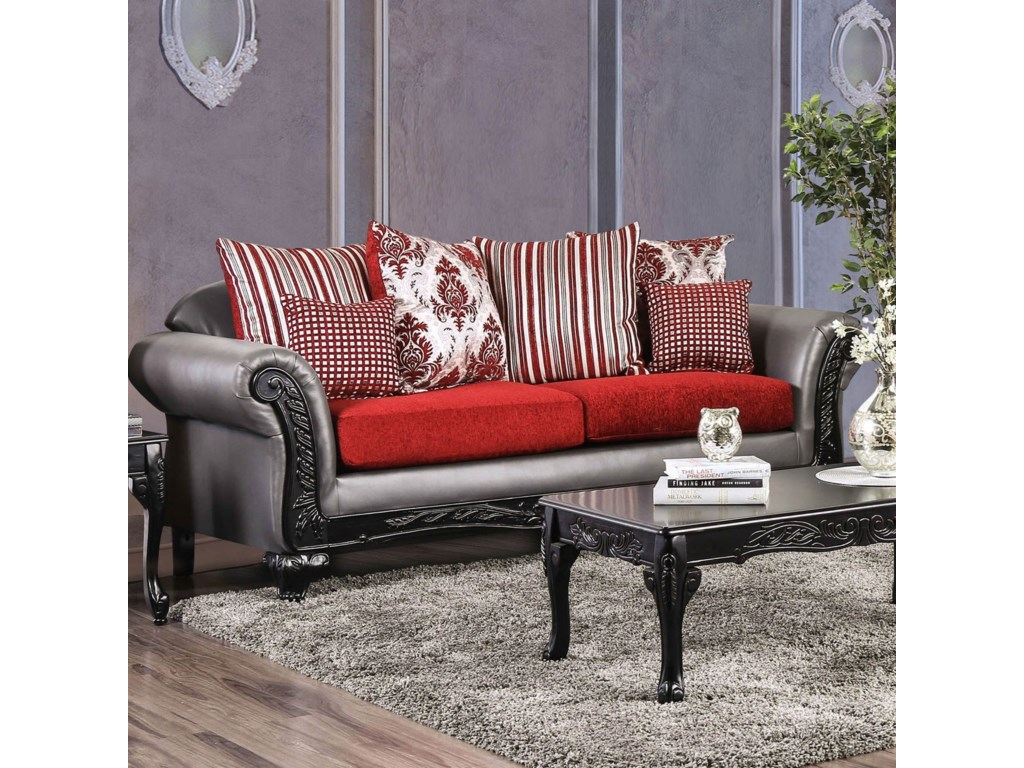 Midleton Traditional Sofa With Decorative Wood Trim By Furniture Of America At Dream Home Interiors
