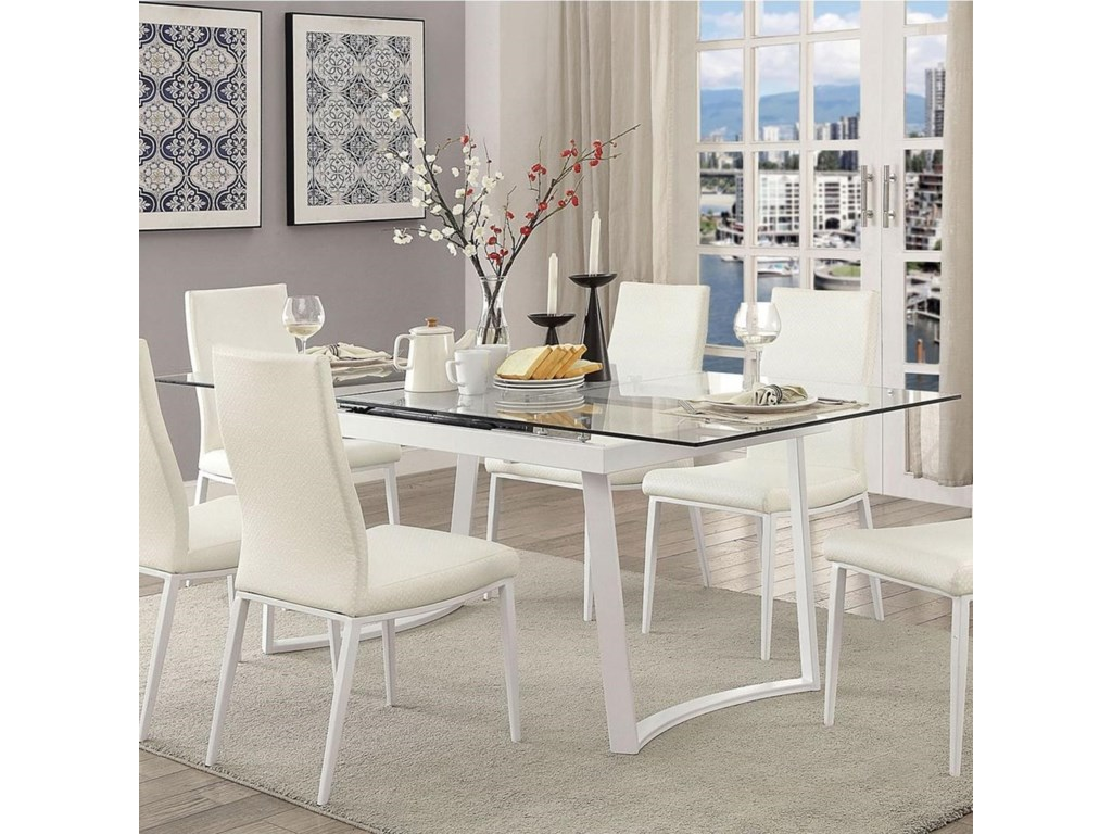 Miriam Contemporary Dining Table With Self Storing Leaf By Furniture Of America