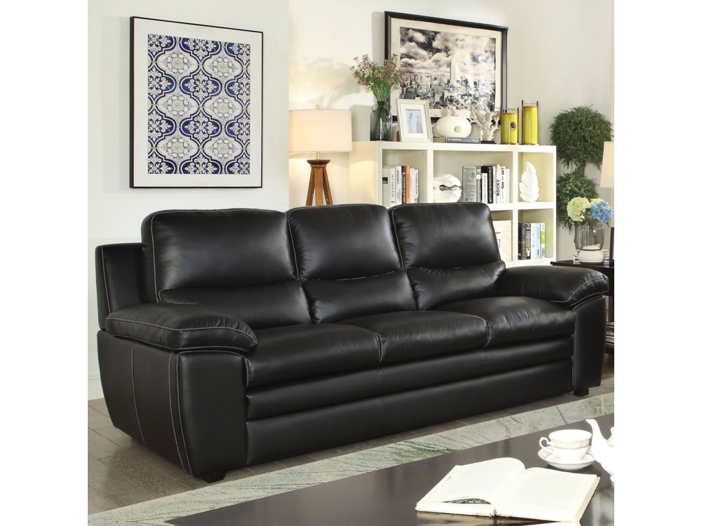 Mirielle Casual Leather Match Sofa by Furniture of America at Rooms for Less
