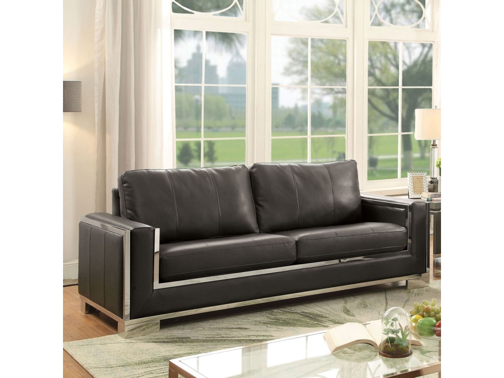 Monika Contemporary Sofa with Stainless Steel Frame by Furniture of America  at Rooms for Less