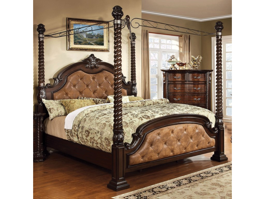 Furniture Of America Monte Vista I Traditional California King Canopy Bed With Button Tufted Head And Footboard