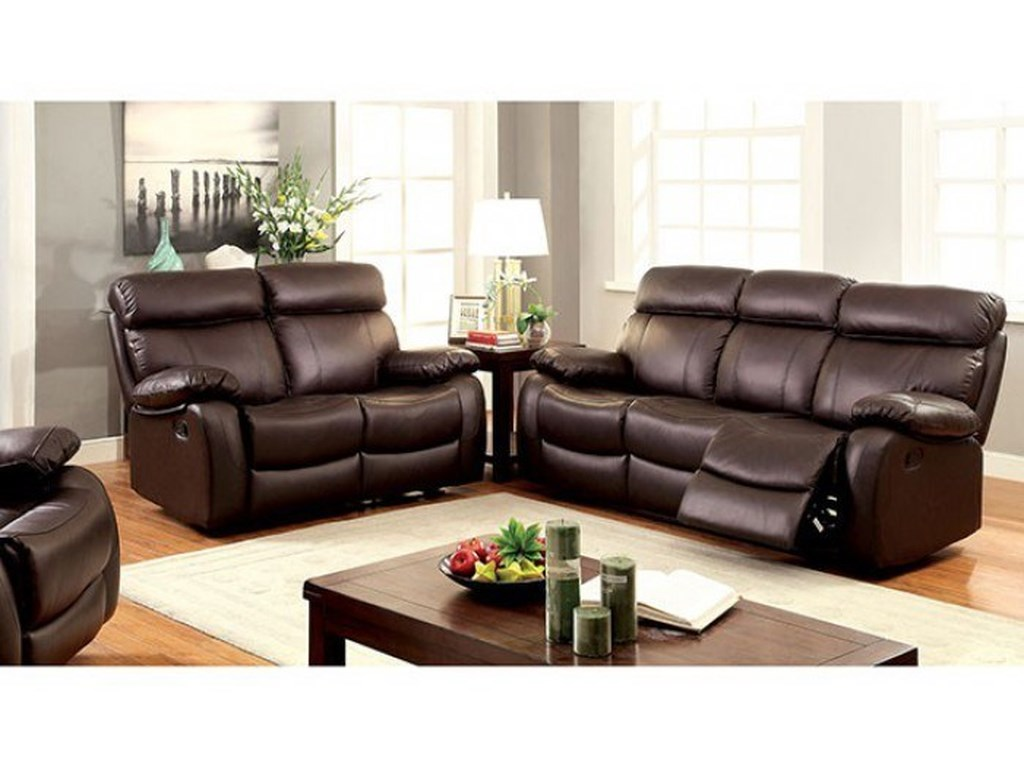 Myrtle Casual Leather Match Sofa, Loveseat, and Recliner Set by Furniture  of America at Rooms for Less
