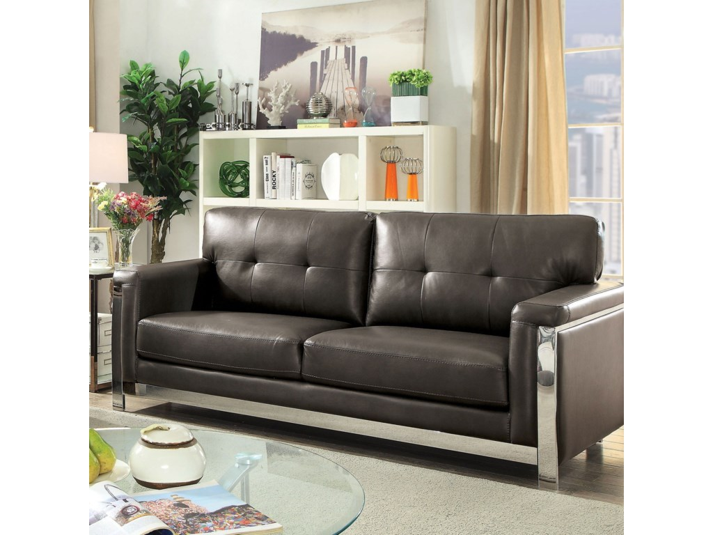 Nanette Contemporary Sofa with Stainless Steel Frame by Furniture of  America at Rooms for Less