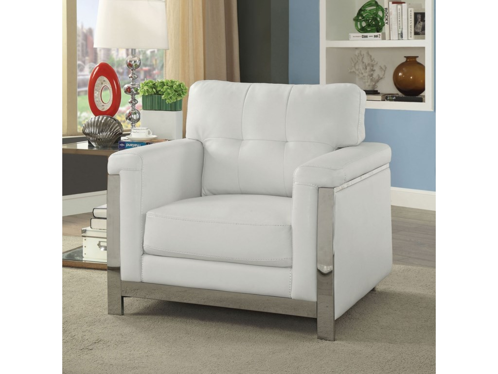America Nanette CM6425WH-CH Contemporary Chair with ...