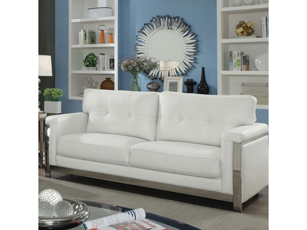 Nanette Contemporary Sofa with Stainless Steel Frame by Furniture of  America at Furniture Superstore - NM