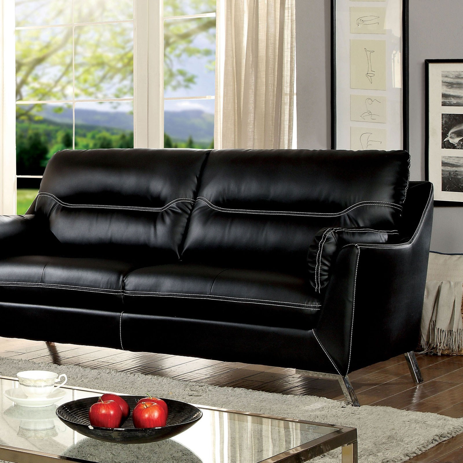 Furniture Of America Nichola Contemporary Sofa With Metal