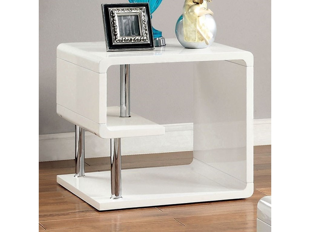 Ninove II Contemporary End Table with Open Shelving by Furniture of America  at Dream Home Interiors