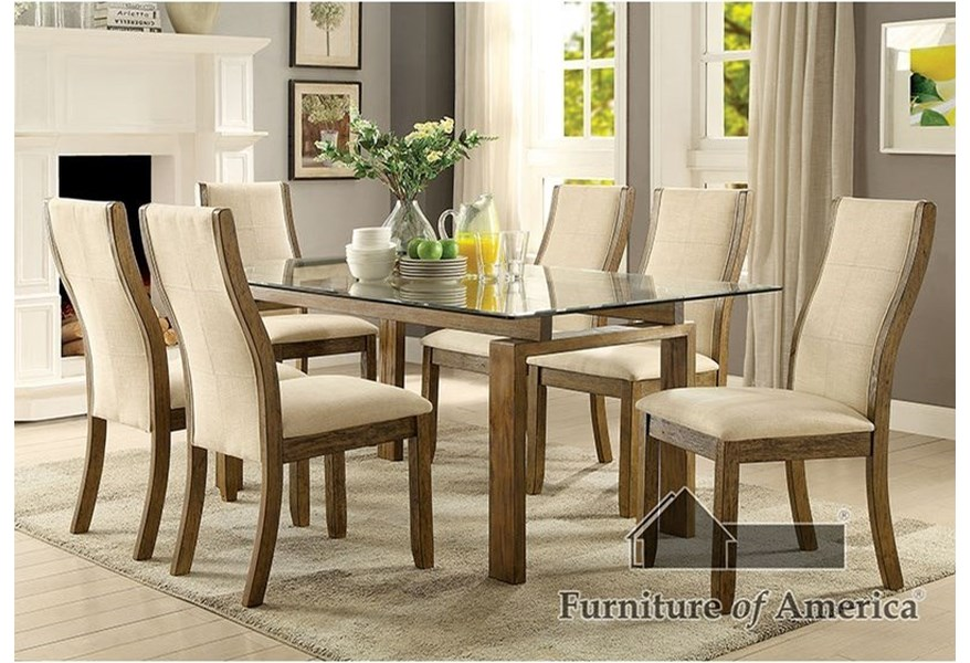 Onway Contemporary Glass Dining Table by Furniture of America at Dream Home  Interiors