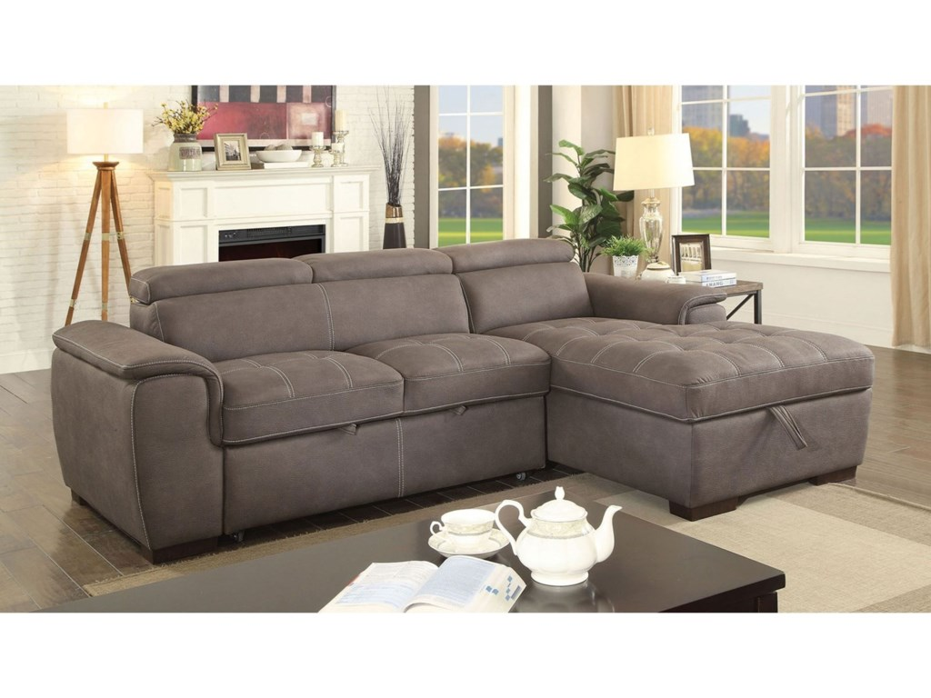 Furniture Of America Patty Cm6514br Sect Sofa Sectional With Pull