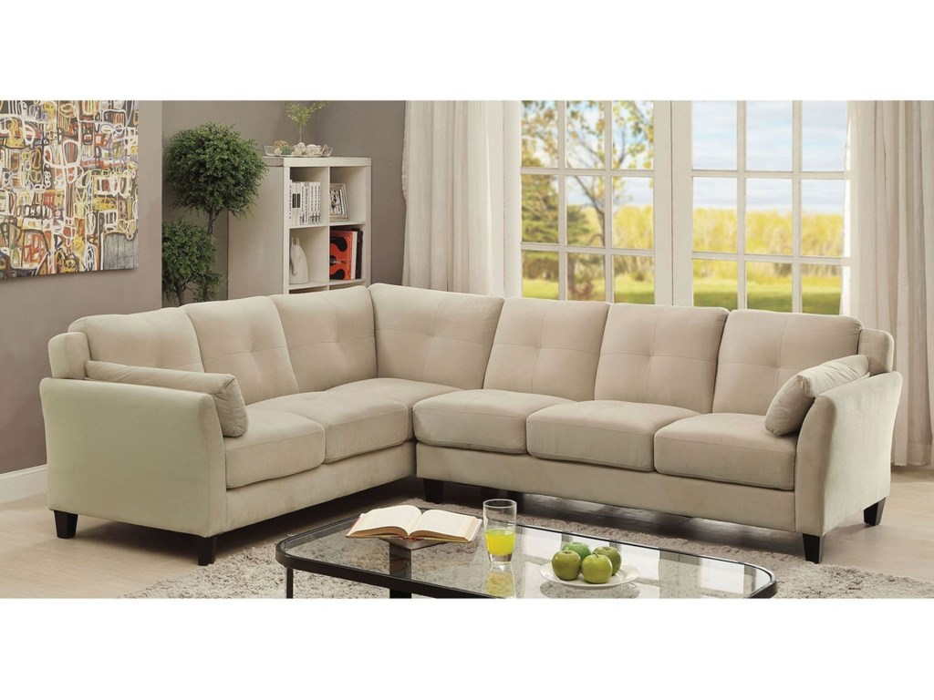 Peever II Modern Sectional Sofa with Flared Arms in Flannel-Like Fabric by  Furniture of America at Rooms for Less