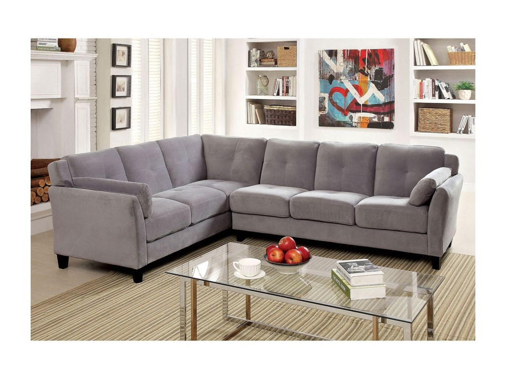 Furniture of america peever ii modern sectional sofa with flared arms in flannel like fabric
