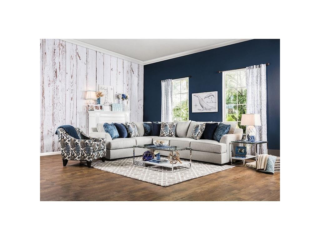 America Pennington SM1111-SECTIONAL Contemporary Sectional Sofa ...