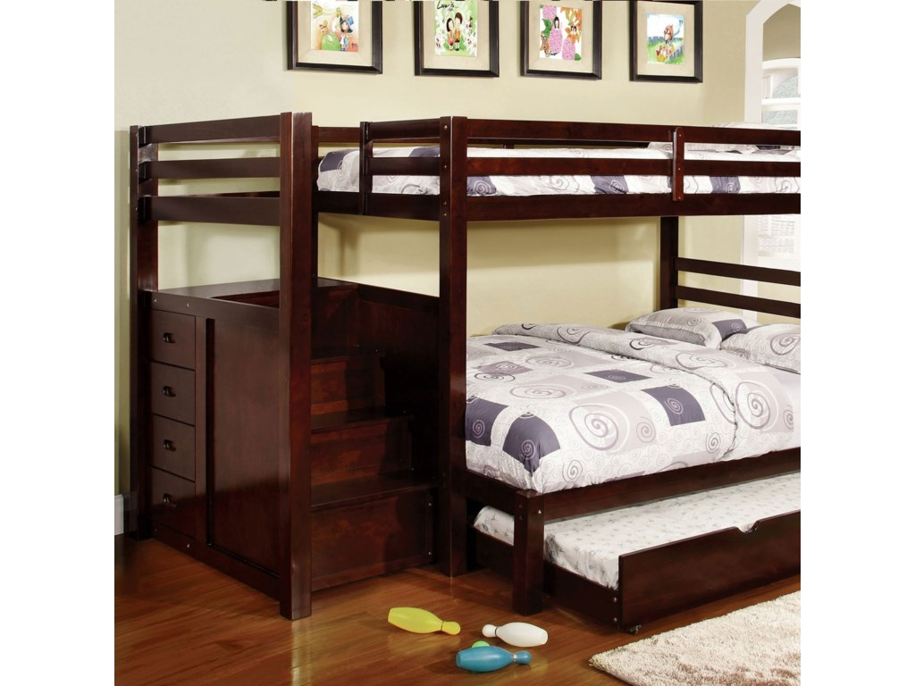 Furniture of America Pine RidgeTwin/Full Bunk Bed w/ Steps Drawers