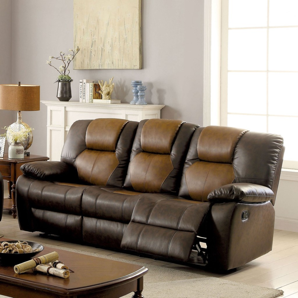 Furniture Of America Pollux Casual Two Tone Reclining Sofa With Drop