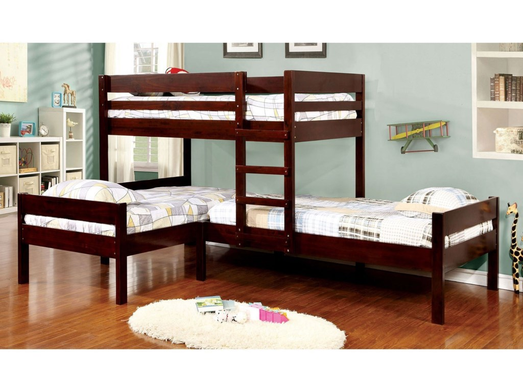 Ranford Twin Bunk Bed with Three Beds by Furniture of America at Rooms for  Less
