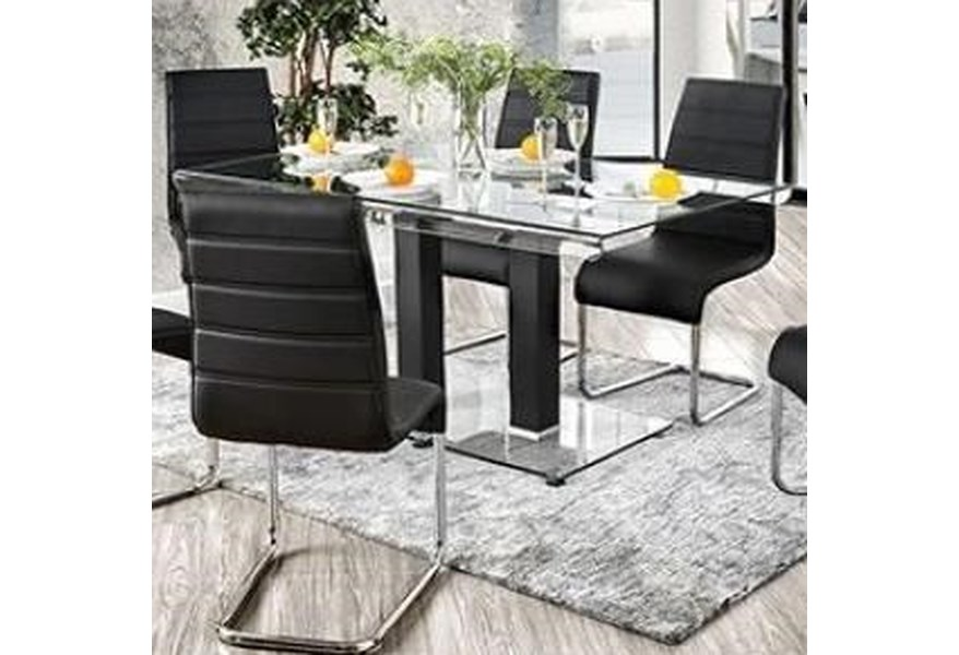 Richfield Contemporary Dining Table with Glass Top by Furniture of America  at Dream Home Interiors