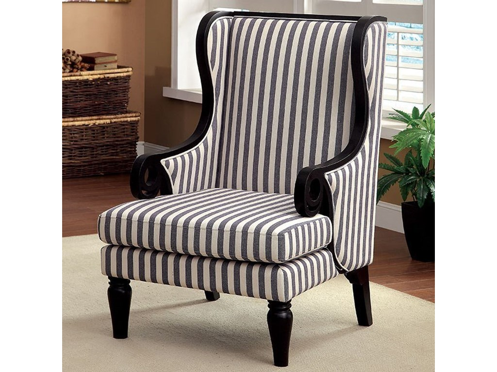 Beige Accent Chairs With Blue Stripes.Riviera Wing Back Accent Chair In Dark Blue Stripe Fabric By America At Del Sol Furniture