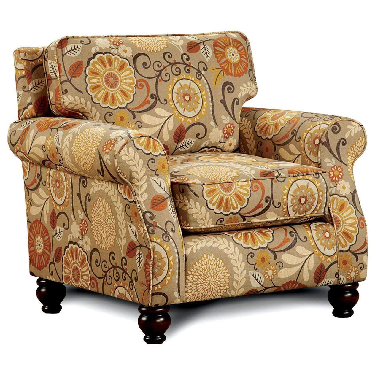 America Rollins Transitional Patterned Chair With Bun Feet