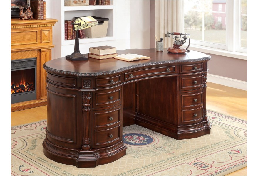 Roosevelt Traditional Oval Office Desk by Furniture of America at Dream  Home Interiors