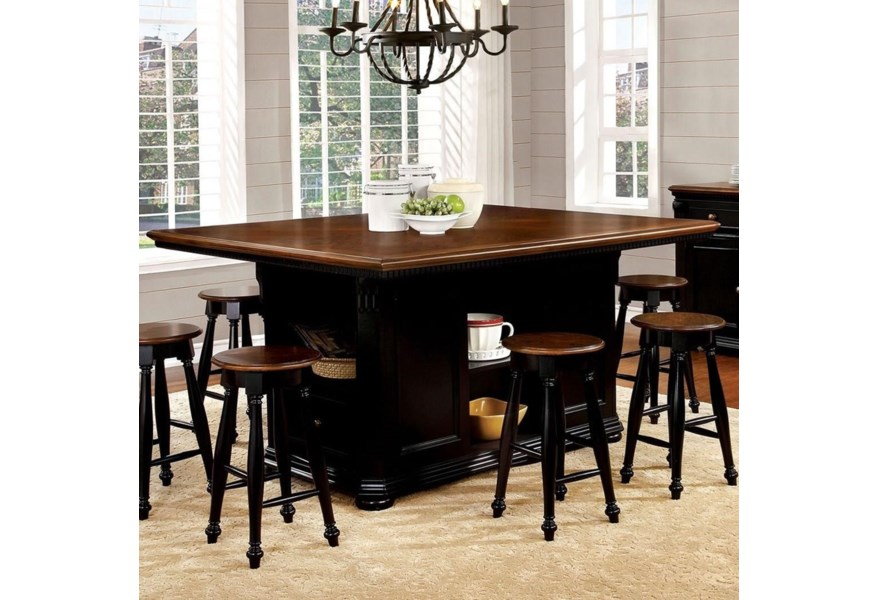 Furniture Of America Foa Sabrina Cm3199bc Pt Table Cottage Counter Height Dining Table With Shelving And Storage Del Sol Furniture Pub Tables