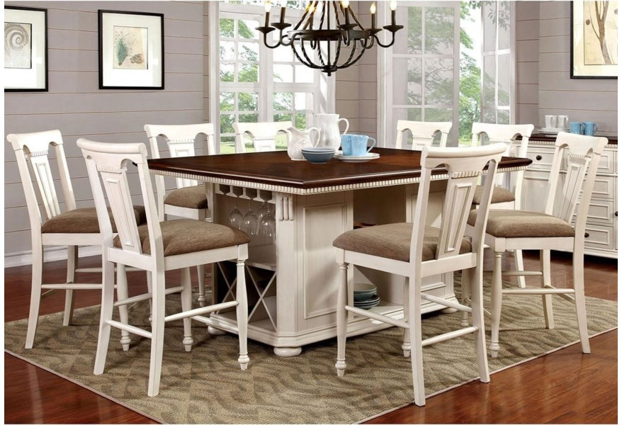 Furniture Of America Sabrina Cottage 9 Piece Counter Height Dining Set With Shelving And Storage Dream Home Interiors Pub Table And Stool Sets