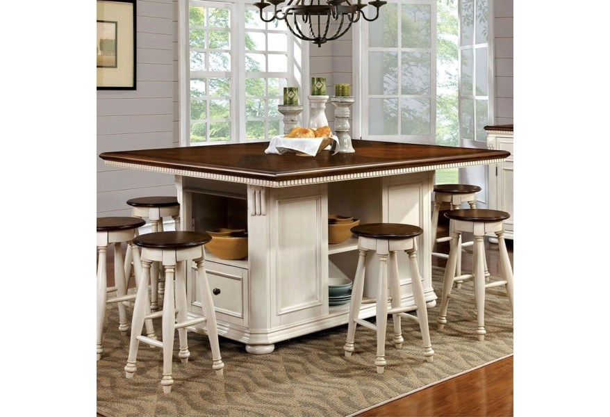 Sabrina Cottage Counter Height Dining Table with Shelving and Storage by  Furniture of America at Dream Home Interiors