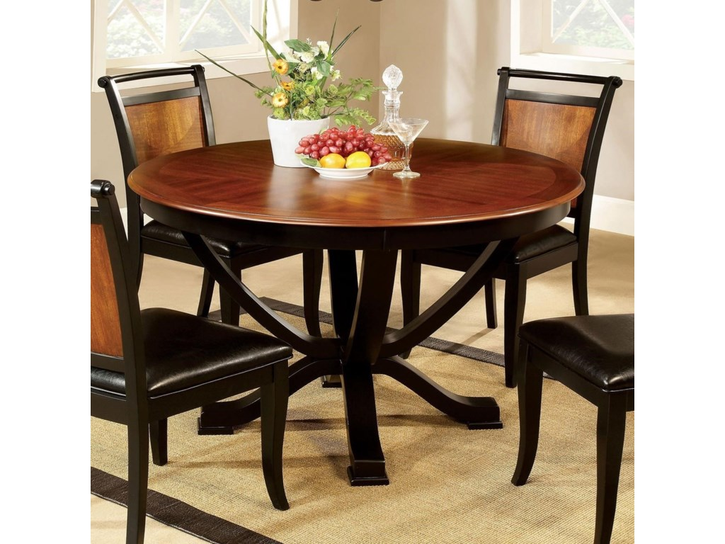Salida I Two Tone Round Dining Table By Furniture Of America At Rooms For Less
