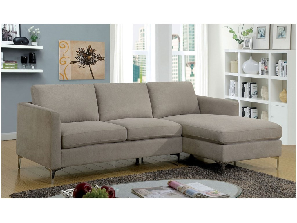 Sandy Contemporary Sectional Sofa with Chaise by Furniture of America at  Rooms for Less