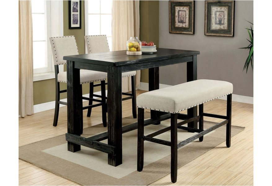 Sania I Rustic 4 Piece Bar Height Dining Set with Bench by Furniture of  America at Dream Home Interiors
