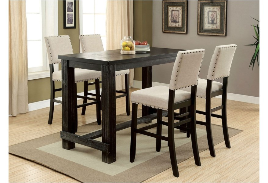 Furniture Of America Sania I Rustic 5 Piece Bar Height Dining Set With Upholstered Seating Dream Home Interiors Pub Table And Stool Sets