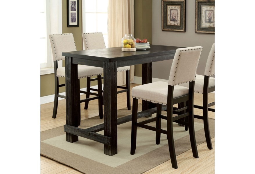 Sania II Rustic Bar Height Table by Furniture of America at Dream Home  Interiors