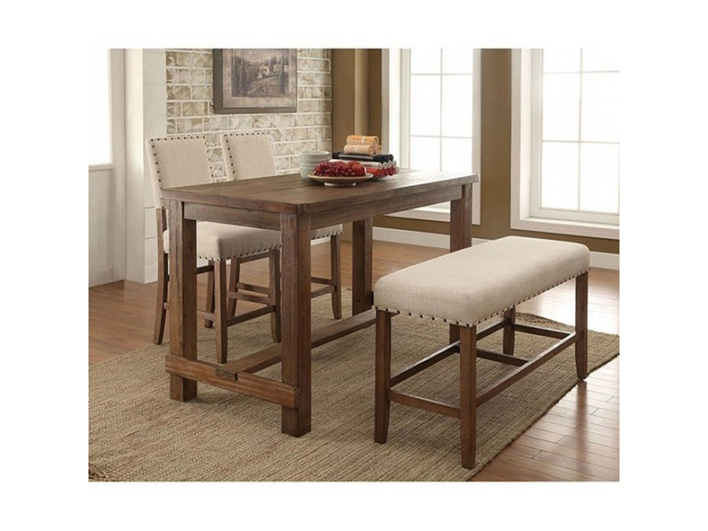 Furniture Of America Sania Rustic 4 Piece Counter Height Dining Set With Bench