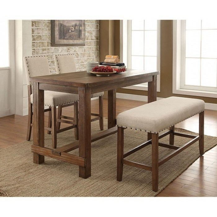 Furniture of America Sania CM3324PT-4PC Table + 2 Chairs + Bench ...