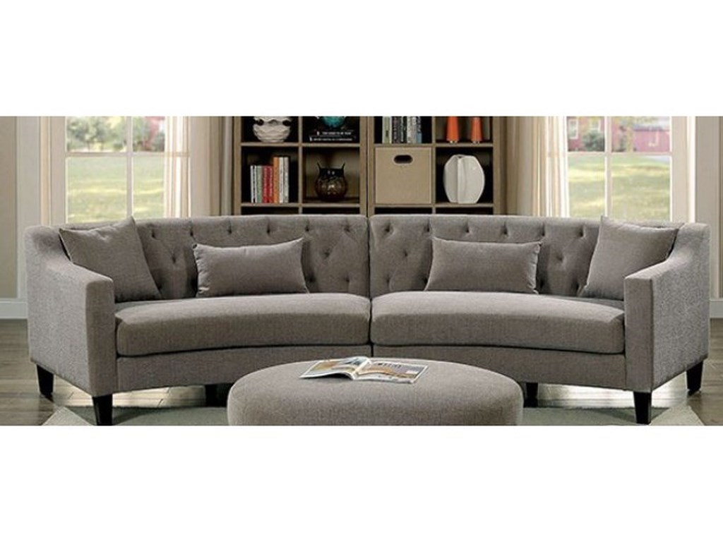 Furniture of America Sarin CM6370-SECTIONAL Contemporary Curved ...