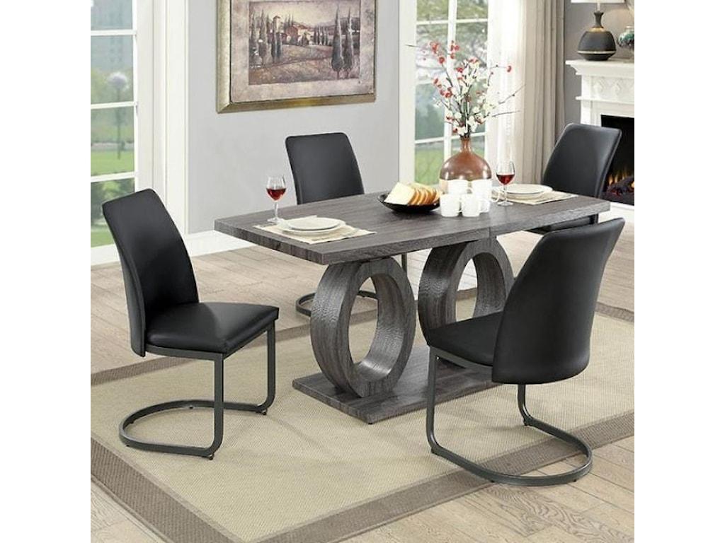 Furniture Of America Saskia Contemporary 5 Piece Dining Set Rooms