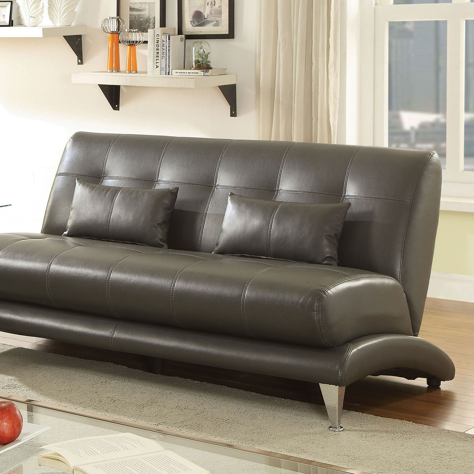 Sherri Contemporary Tufted Sofa With Pillows By Furniture Of America At Dream Home Furniture